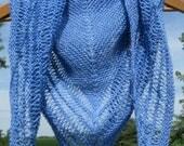 Knitted Alpaca Shawl, Hand Knit Blue Wool Shawl, Triangle Wrap for Women,