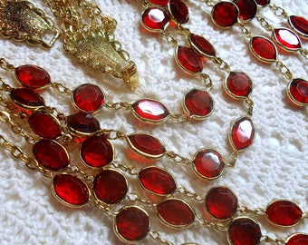 Vintage 5 Strands  Ruby Red Lucite Gold Tone Necklace & Drop Earrings