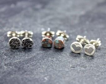 Stud Trio Earrings, Heart, Raw Silk, Blue Patina Copper Studs, Earrings, circle, barrel, 925, sterling, silver, post, modern, simple