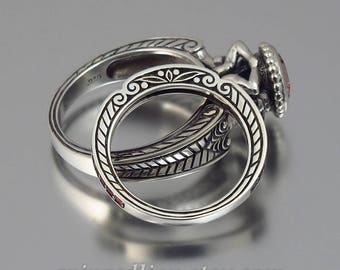 RESERVED for B. 2nd payment CARYATID silver ring & band set with red pink tourmalines