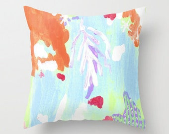 Patchouli Seas Abstract PILLOW- 4 sizes - (indoor and outdoor fabrics)