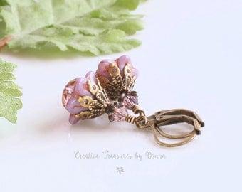 Brass Earrings, Purple Earrings, Czech Glass Flowers Crystals, Swarovski Crystals, Victorian Earrings, Bell Flower Earrings, Hippie Earrings