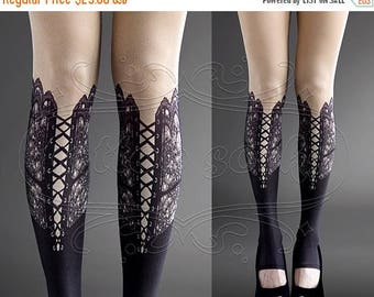 ON SALE/// NEW nude color one size Lace Up print full length footless  printed tights pantyhose summer spring