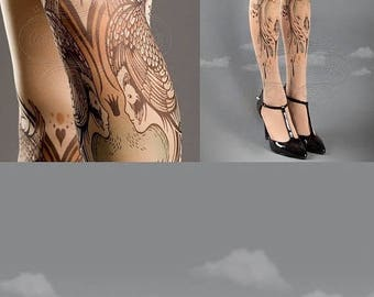 SALE///endsAug22/// Closed Toe nude color one size Birds and Ladies full length printed tights, pantyhose, nylons, tattoo socks