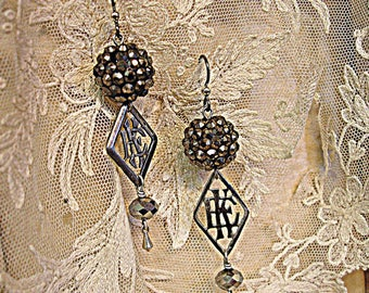 official initial E K or K E one of a kind vintage assemblage earrings antique fRench monograms vintage swarovski sterling silver kites