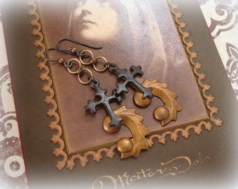 cruci signati earrings marked with a cross deco style vintage brass finding + BOLD blackened cross hypoallergenic
