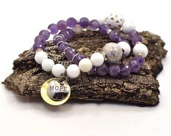 Stacking Charm Bracelet, Bracelet Set, Stackable Bracelet, Beaded Bracelet, Layering Bracelet, Purple Bracelet, Stretch Bracelet, For Her