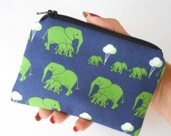 Little Zipper Pouch Padded Coin Purse ECO Friendly NEW Elephant Safari Party