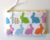 Easter basket stuffer, Bunny purse, ready to ship, Zipper Pouch, Pencil Case, Cosmetic Case with Rainbow Bunnies for Spring, Easter gift