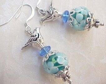 Lampwork Earrings Lampwork Glass Earrings Blue Bird Earrings Lampwork Beads Floral Lampwork Earrings Shabby Chic Earrings Easter Basket Gift