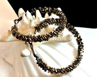 July 4th Sale Brown and Gold Seed Bead Hoops Clip Back Pierced Bead Earrings 2 Inch Hoop Earrings Vintage Seed Bead Earrings Free Shipping i