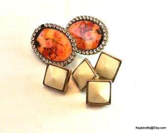 Six Orange and White Push Pins Thumbtacks 4 White Square Thumbtacks Pushpins 2 Orange Flower with Rhinestone Thumbtacks