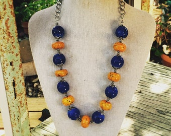 Blue and Yellow Gypsy Necklace