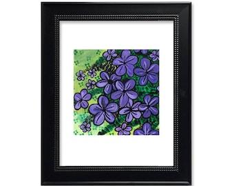 Purple Flowers Art Print - Abstract Floral Print - Creeping Phlox - Spring Flower Wall Art Decor - Purple and Green - Modern Print