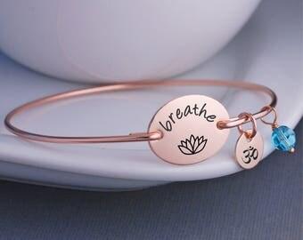 Rose Gold Breathe Bracelet, Rose Gold Yoga Jewelry, Lotus Jewelry Gift, Yoga Gift, Bangle Bracelet, Christmas Gift for Yogi