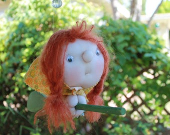 Hildegard the Kitchen Witch - Kitchen Witch Doll - Herb Witch - Green Witch - Good luck doll for your kitchen!