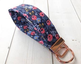 Floral Key Fob Rifle Paper Co Wrist Strap Keychain Les Fleurs Gift For Her Blue Key Holder Keychain Gift For Women Teacher Gift