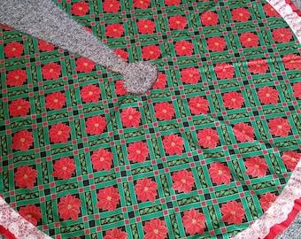 Extra large reversible ruffled Christmas tree skirt
