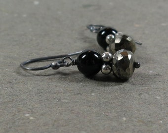 Pyrite Earrings Black Onyx Metallic Oxidized Sterling Silver Earrings Gift for Her