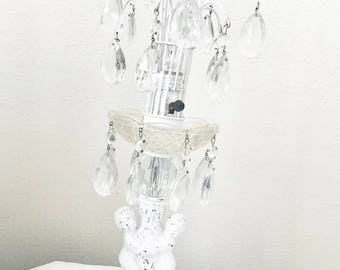 Vintage Shabby Chic Pair of Cherubs Lamp Chandelier Prisms White Cottage Paris Style