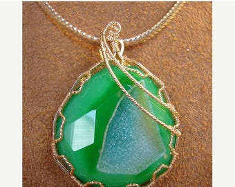 Moving Sale 40% Off Green Agate Druzy Set in 14K Rolled Gold Pendant