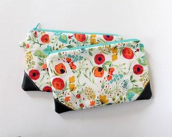 zipper pouch, cash envelope, Eyeglass case, Pen pencil, cash wallet, Cosmetic makeup bag, Teal floral bag, sunglasses case, purse organizer