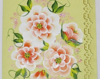 Hand Painted Card - Orange and White Flowers - No. 1213