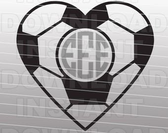 Soccer Ball Heart SVG File,Monogram SVG File,Cutting Template-Vector Clip Art for Commercial & Personal Use for Cricut,Cameo,Silhouette