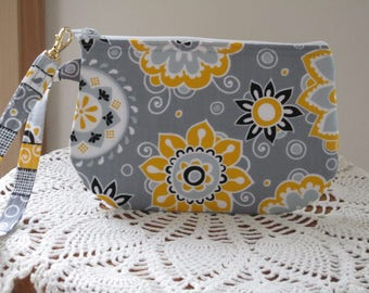 Wristlet, Zipper Gadget Purse, Pouch,  Dots in Funky Flowers in Gray, Small Camera Bag