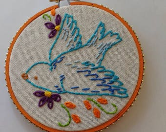 Embroidery Art Blue Bird