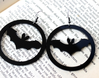 BATS! Black Acrylic Earrings - Halloween Goth Witchy Jewelry