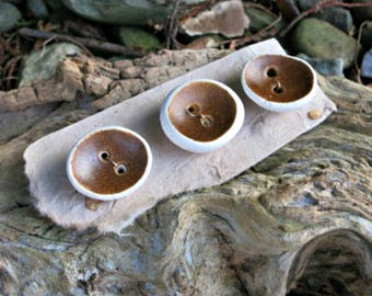 Ceramic Button Set - Brown Clay Buttons - One Of A Kind Button Trio - Artisan Ceramic Buttons - Hazelnuts