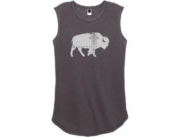 Bohemian Buffalo Print Shirt • Women's Printed Tank • Graphic TShirt • Sleeveless Cotton Top • Distressed Clothing • Boho Tee • Loft415 Tops
