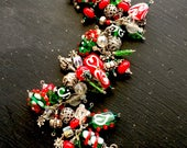 Holiday Christmas Sterling Charm Bracelet with Artisan Lampwork