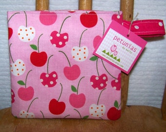 Reusable Little Snack Bag - pouch adults kids cherries eco friendly by PETUNIAS
