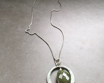 Gemstone and Silver Hoop Necklace on Chain
