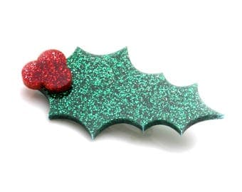 Glitter Acrylic Holly Brooch - Novelty Festive Holly Brooch - Statement Christmas Holly Pin - Festive Christmas Pin - Laser Cut Perspex Pin