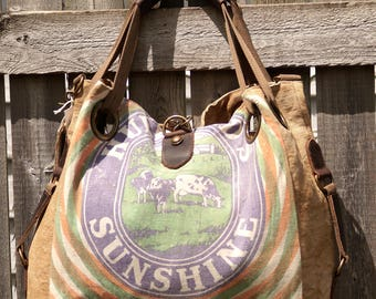 Hubbard Dairy Concentrate Feed - Minnesota - Open Tote - Americana Upcycle Vintage OOAK Canvas & Leather Tote... Selina Vaughan Studios
