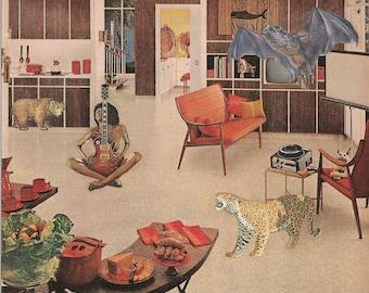 Original Collage on Paper-Mid Century Living Room-Guitars-& More!