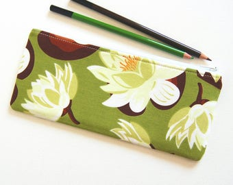 Zipper Pouch Organizer, Cosmetic Case, Makeup Bag, Women and Teens, Water Lily in Meadow, Sandi Henderson Ginger Blossom