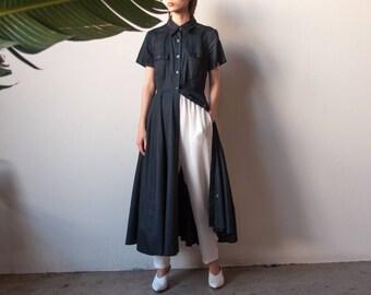 black cotton midi dress / minimalist shirt dress / full skirt dress / s / m / US 8 / 2250d