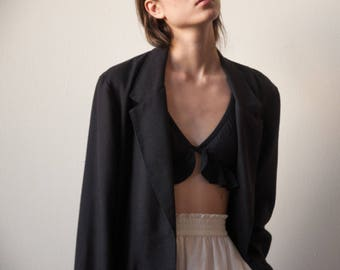 black woven boyfriend blazer / woven summer jacket / minimalist blazer / s / 2229o