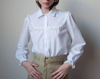 70s white cotton lace ruffle bib blouse / ruffle cuff blouse / 70s romantic blouse / s / m / 2840t