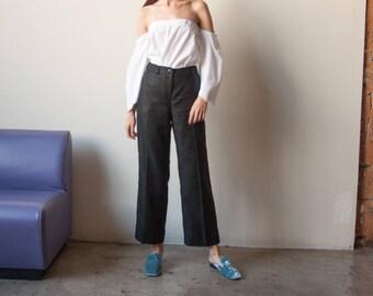 RALPH LAUREN black linen cropped pants / black woven culotte trousers / 10 P / 2765t / B9