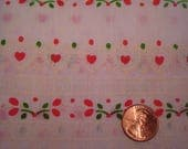 Quarter yard VINTAGE FLOCKED fabric tiny hearts doll dress making quilting