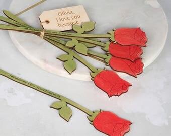 Personalisierte Rote Rose Blumen   Valentinstag   Geschenk