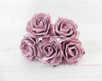 5 35mm mauve mulberry paper roses (Style 1)