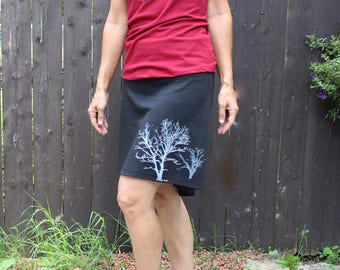 Cotton Jersey Short Skirt with Tree Print Black