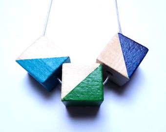 Triangle natural wood statement necklace - hand painted silver chain navy turquoise emerald limited edition square modern