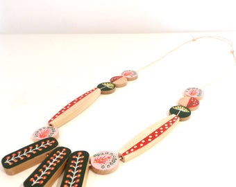 Hand painted scandinavian style natural wood statement necklace - fern, red, cream, yellow pale pink limited edition